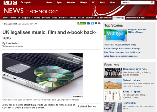 UK legalises music, film and e-book back-ups